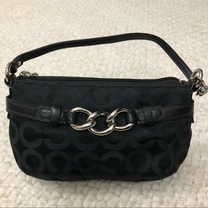 Coach | Signature Black Wristlet With Chain Detail